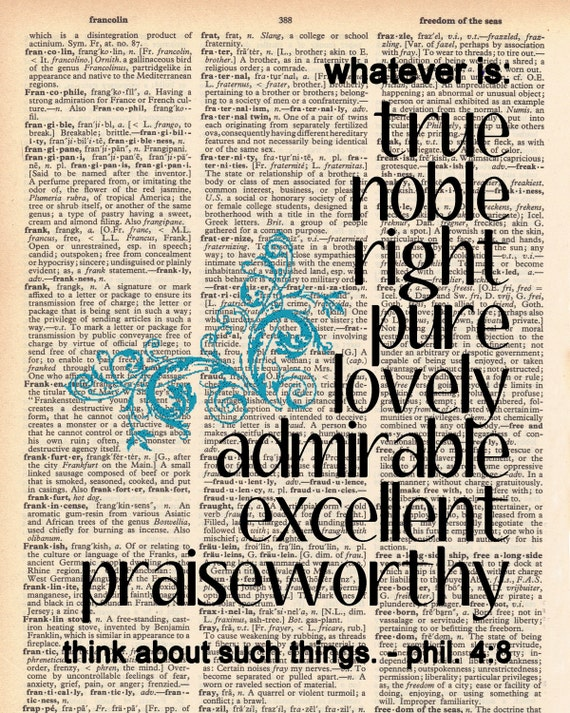 Vintage Dictionary Bible Verse - Whatever is... Phil 4:8 Print