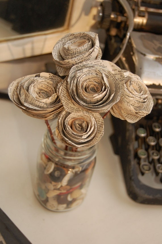 Vintage Upcycled Dictionary Stem Roses (set of 5)