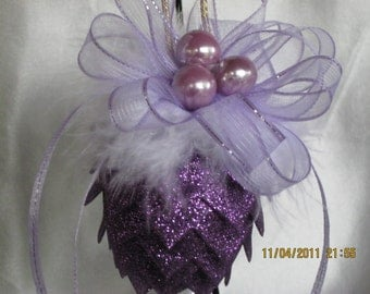 Victorian Christmas Ornament Pretty in purple ribbon pinecone with feathers ornament