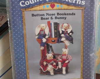Button Nose Bookends Bear & Bunny paper sewing doll pattern uncut