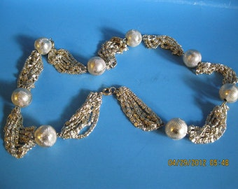 Jewelry Vintage fine filigree multiple chain necklace with silver bead connecting segments 25 inch long.