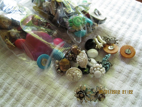 Vintage Jewelry  2 - plus , pounds of vintage earrings pairs, some good and some to use for parts and pieces scraps.