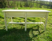 SALE Hand made bench from reclaimed wood. Painted lemon. Shabby chic rustic country style.