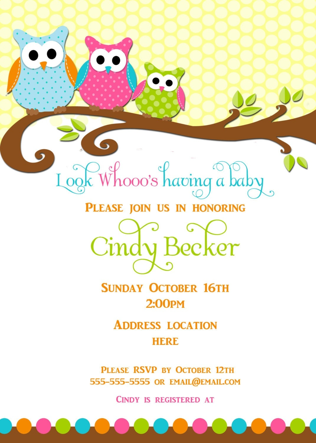 Owl Baby Girl Shower Invitations is adorable invitations sample