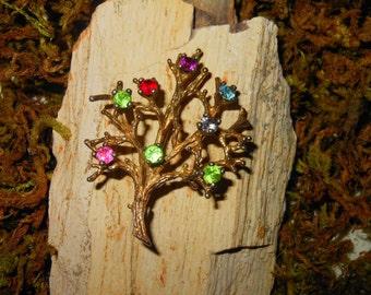 Vintage Celtic Tree of Life Sterling Brooch with Multicolor Rhinestones
