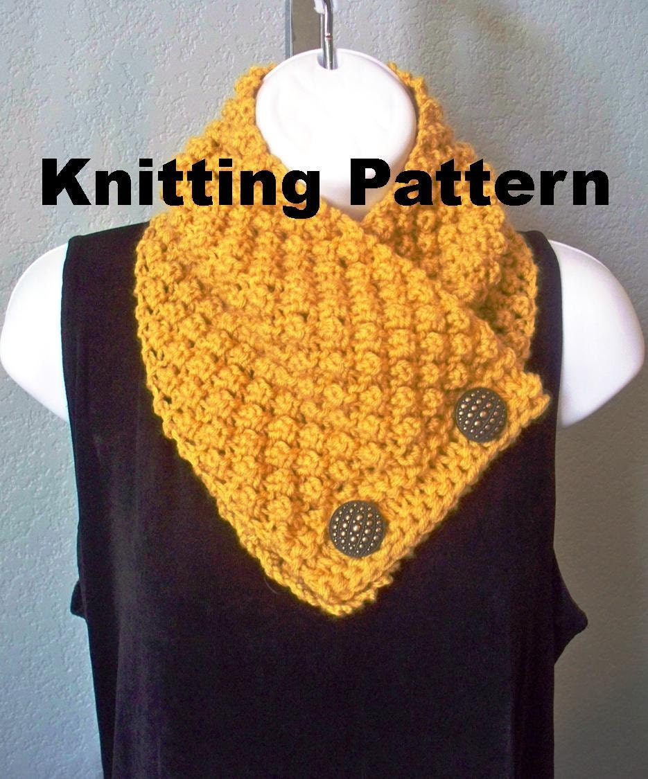 Button Scarf Knitting Pattern PDF by HandKnitArtisans on Etsy