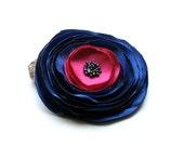 Cobalt Fuschia Flower - Fabric Flower Brooch - Handmade