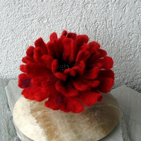 Felt Brooch - Red Felted Flower - Hand Felted Brooch - Flower Brooch - Wool Flowers Felted Brooch