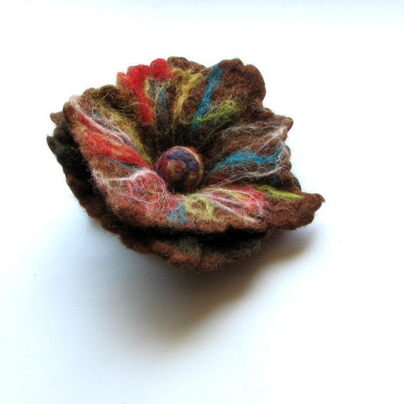 Felted flower brooch  - Hand Felted Brooch Wool - Brown Brooch - Gift for her - Unique gift - Gift ideas - Holiday gift -