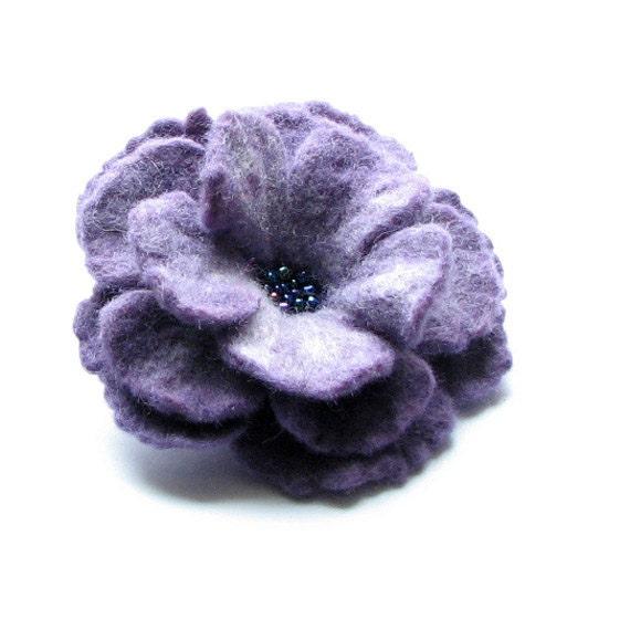 Violet Flower Felted Flower Brooch  Felt Flower   Brooch  Felt Brooch  Flower Brooch Felt Flower Brooch