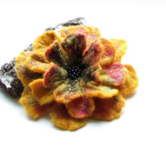 Yellow felt brooch, black yellow felted brooch Fancy Flower felted brooch,