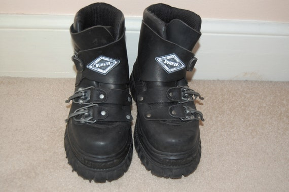 80s 90s Grunge Goth Chunky Leather Bunker Boots UK 6.5 / US 9