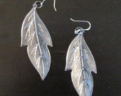 Silver Tone Filigree Leaf Earrings