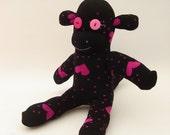 Valentine Sock Monkey - Sock Monkey Plush - Black and Pink Hearts - Valentine's Day Plush