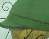 Upcycled Green Newsboy Hat - Size 1
