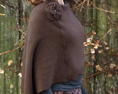 Womens Poncho Cashmere Capelet Shawl in Brown with Detachable Flower made of recycled Materials. One of a Kind Women's/Teen's Poncho.