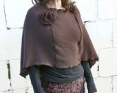 Eco Cashmere Poncho, Womens Cape Shawl Taupe Brown with Detachable Flower made of recycled Materials. Women's/Teen's Poncho..