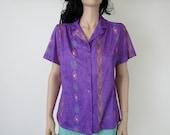 violet / purple navajo /aztec print shirt / vintage / s / m