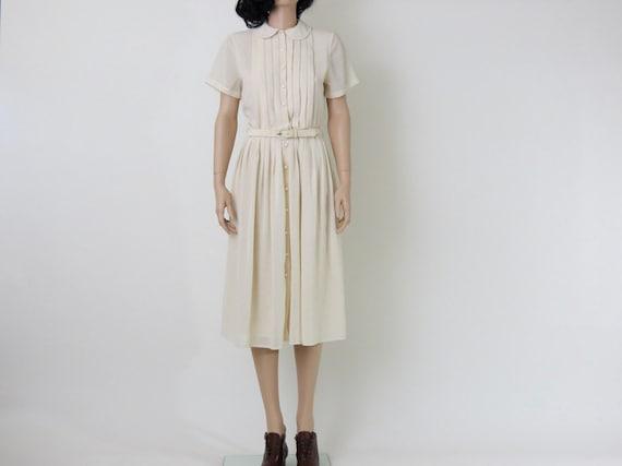 cream / ivory pleated peter pan collar midi 1970s vintage dress