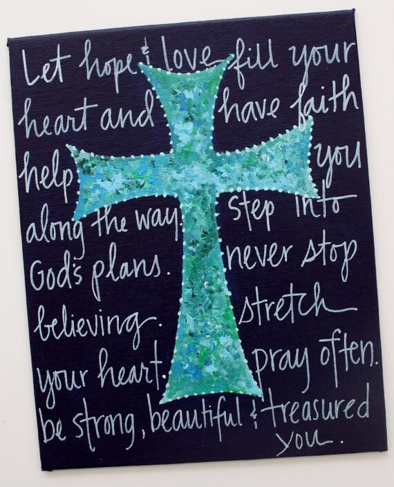 8x10 blue cross with Christian message