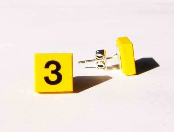 Yellow Square Lego Ear Studs with the Number Three on Them - Ready to Ship & Give as a Gift