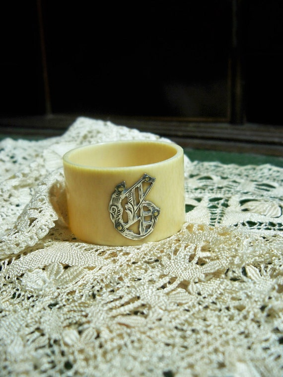 Vintage Monogrammed Napkin Ring Dinner Table Accessory