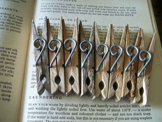 Vintage Wooden Clothes Pegs
