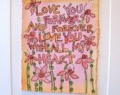 "Watercolor Card Original Art ""Love You Forever"" Card Blank With Envelope betrueoriginals"