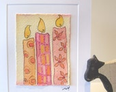 "Valentines Original Art Watercolor ""Soft Glow Wishes"" Card Blank With Envelope betrueoriginals"