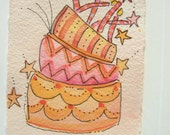 "Card Watercolor Original ""Leaning Birthday Cake  "" Card Blank With Envelope betrueoriginals"