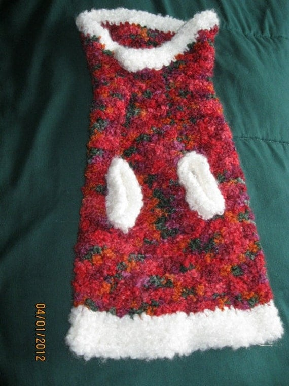 Crochet Medium Size Dog Sweater, Very Colorful