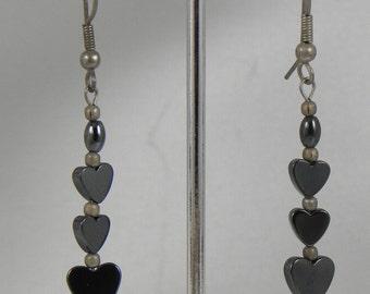 Heart Shaped Hematite Dangle Earrings