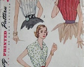 Vintage 1950s  Simplicity 3923 Sewing Pattern  Blouse with Kimono sleeves  Size 12 Bust 30