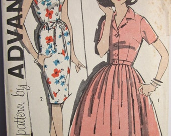 Vintage 1960s  Advance 9859 UNCUT Sewing Pattern Dress Full or Slim Skirt  Size 15  Bust 35