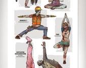 ZOMBIE YOGA Art Print 11x17 by Rob Osborne
