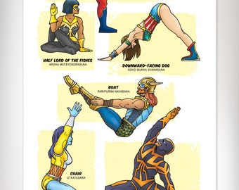 SUPERHERO YOGA Super Pop Art Print 11x17 by Rob Osborne