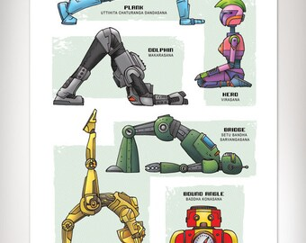 ROBOT YOGA Super Pop Art Print 11x17 by Rob Ozborne