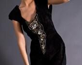 SALE 50% OFF 80s Vintage Suede Cut Out Dress