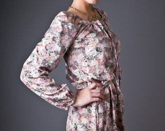 SALE 50% OFF Vintage 70s Dusty Pink Floral Mini Dress