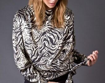 SALE 50% OFF 80s Vintage Silver and Black Zebra Print Blouse