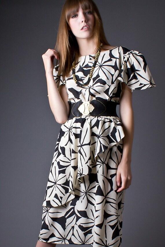 RESERVED 80s Vintage Cream & Black Graphic Print Peplum Dress
