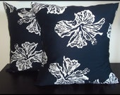 Set of 2 Pillow Covers 16x16 inch -Free Shipping - Robert Allen Island Beach in Navy, White Large Floral on Navy