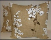 2 Pillow Covers 18x18 inch-Free Shipping - White Cherry Blossom on Natural Linen