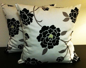 Black White Floral Pillow Covers, Home Decor Pillows, Designer Floral Pillow, Robert Allen Sperling Noir, 2 Pillow Covers 18x18