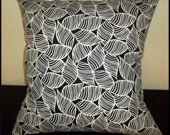Fanfare Leaf Black and White Throw Pillow Cushion Cover-Single Pillow Cover-Free US Shipping-Throw Pillow, Accent Pillow, Home Decor Pillow