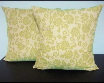 Set of 2 Pillow Covers 18x18-Free US Shipping - Green Floral Ikat--