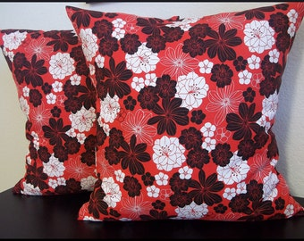 Set of 2 Pillow Covers 18x18-Free Shipping - Floral Home Decor Fabric Black and White on Red--