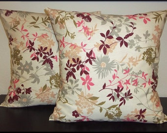 Set of 2 Pillow Covers 18x18-Free Shipping - Multicolored Flowers