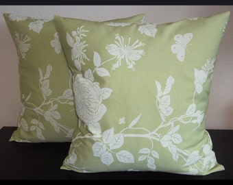 Set of 2 Pillow Covers 18x18-Free Shipping - Cream floral print on Seafoam Green--