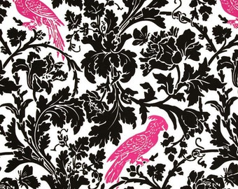 Single Pillow Cover 18x18 inch-Free Shipping - Barber Black with Candy Pink Birds